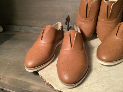 Time and Tru Womens TAN LEATHER Shoes Slip On Sizes 9 OR 10 Memory Foam NWT