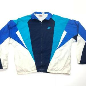 58cb11126d663 Details about VTG 90s Nike Gray Tag Swoosh Mens Blue White Windbreaker  Track Jacket Large