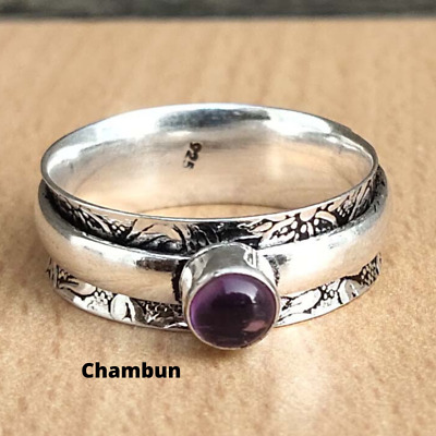 Natural Amethyst Gemstone 925 Sterling Silver Spinner Ring Handmade Jewelry  C13