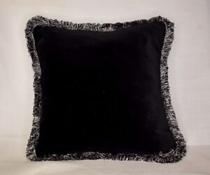 large solid brown and gold velvet cotton fringe throw pillow handmade usa