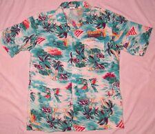OTC Mens Hawaiian Shirt VTG 2000 HARRAHS SUMMER SPLASH CALIFORNIA XL BLUE CASINO