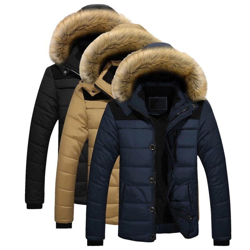Hommes Coton Rembourré Vestes Manteau Court Col De Fourrure De Fourrure Outwear Hiver Épaissir US