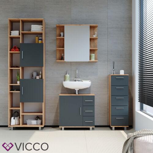 VICCO Badschrank ILIAS 190 x 60 cm Eiche Anthrazit Hochschrank Regal Badregal