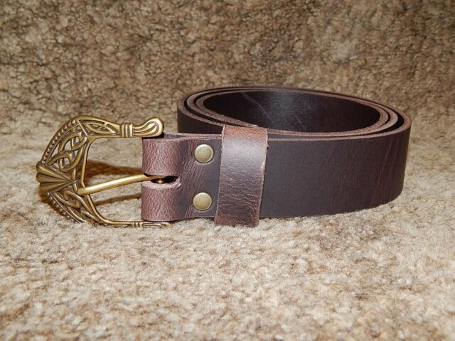 Quality 9 oz buffalo leather belt with celtic buckle! All hand-made!!!
