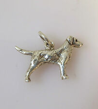 .925 Sterling Silver 3-D GOLDEN RETRIEVER CHARM NEW Pendant Dog Breed 925 DG15