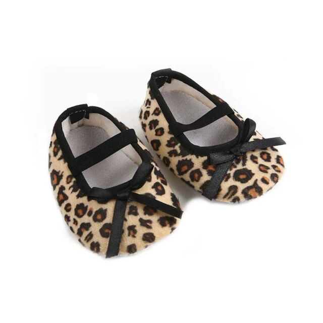 Newborn Baby Infant Leopard Brown Bow Kids Girls Soft Crib Shoes 3-6 Months.