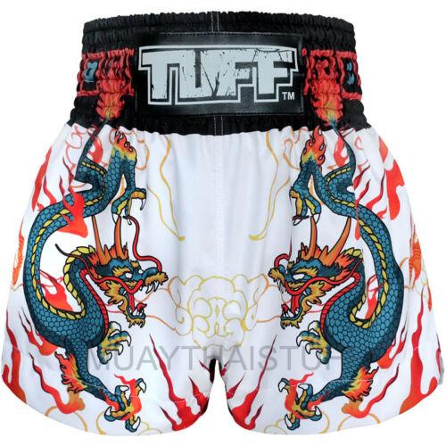 TUFF Muay Thai Boxing Shorts Dragon Black Red White MMA Training Trunk Gym 6G