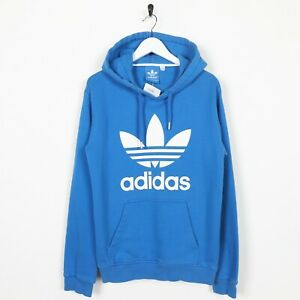 Vintage-Adidas-Originals-Big-Trefoil-Logo-Hoodie-Sweatshirt-blau-Small-S