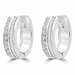 0.4 CTW VS1 F ROUND DIAMOND HUGGIE EARRINGS 14K WHITE GOLD