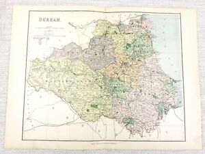 1889 Antico Mappa Di Durham Jarrow Barnard Castle Tyneside 19th Secolo Originale