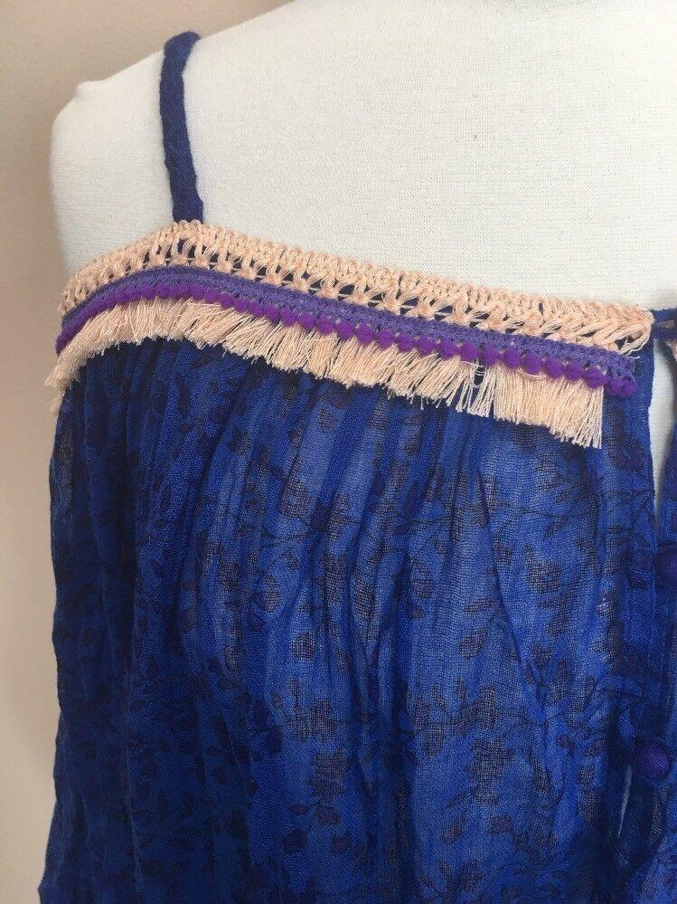 55. POUPETTE St. Barth Froid Épaule Blau Corail Floral Robe Cover Up New M