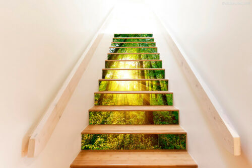 3D Sunshine Forest Self adhesive Staircase Stickers Stair Riser Sticker Decor