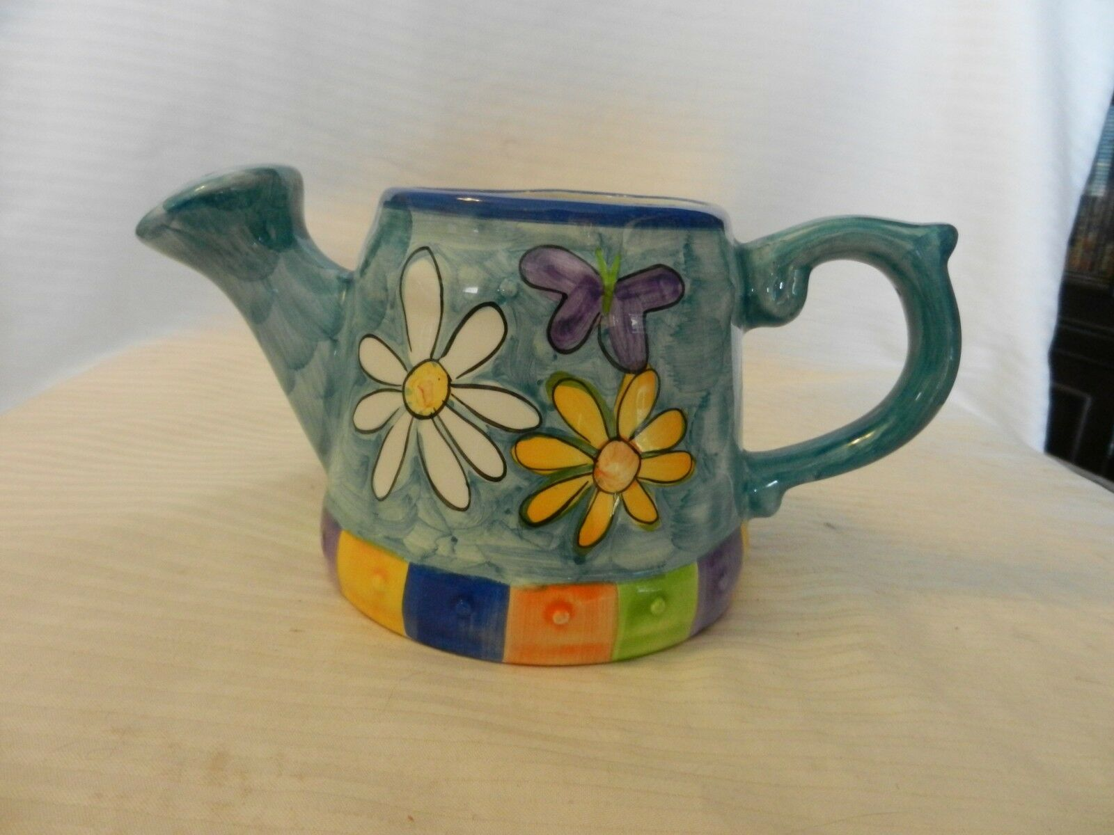 Blue Ceramic Plant Watering Can With Flowers, Multicolored from OGGI
