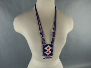 Vintage-American-Southwest-Beaded-Necklace-Souvenir-1970-039-s-1980-039-s-Diamond-Shape