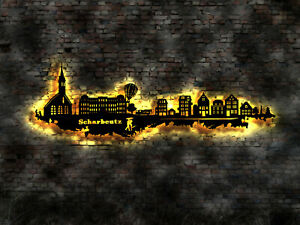 3D LED Deko Hamburg   Wandtattoo Skyline Aufkleber Buch Stadtplan map Hotel