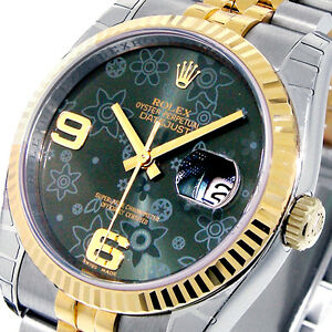 ROLEX-116233-DATEJUST-36-mm-GREEN-FLORAL-DIAL-YELLOW-GOLD-MENS-JUBILEE
