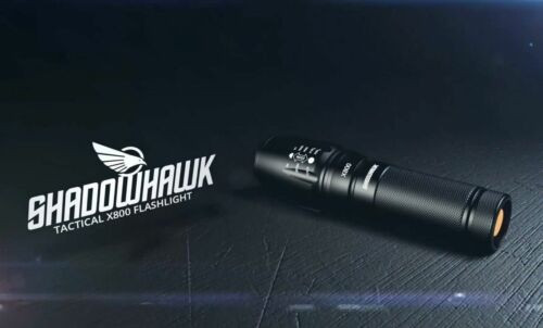 10000 Lm Genuine SHADOWHAWK X800 Tactical Flashlight DEL militaire Torche 18650//AAA