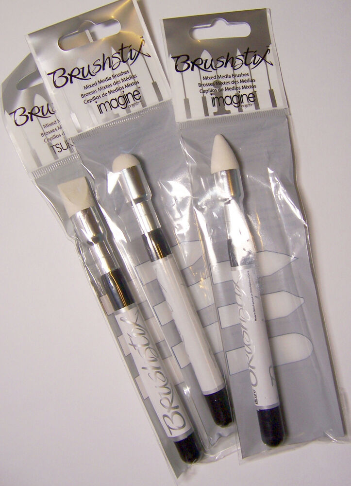 Size #4 Brushstix Mixed Media Brushes Sturdy Foam to apply paint, glaze, StazON