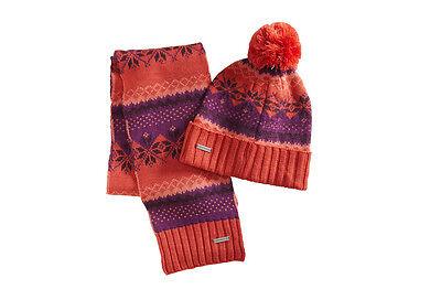 Merrell Women's Winterbelle Beanie Hat & Scarf Set Combo Merino Wool Pom Poppy