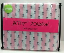 Betsey Johnson Twin Sheet Set Pink & White Stripes Gray Skull & Cross Bones