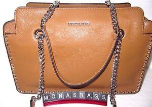 79d7495557da Image is loading Michael-Kors-Astor-large-Satchel-Acorn-Luggage-Leather-