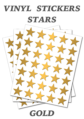 100 Gold Stars Stickers - Self Adhesive Vinyl Labels Size 50mm Each