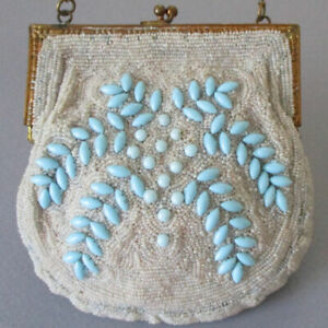 Antique French Micro Beaded Purse w TURQUOISE Cabochons * Made in France