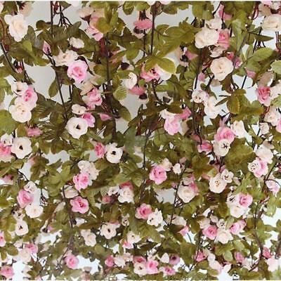 7ft Shabby Chic Pink Rose Garland Flower Vintage Style WEDDING String Bedroom BG
