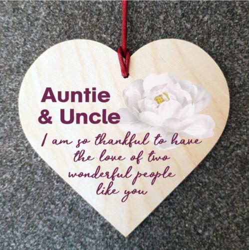 Tante et oncle je suis tellement Heureux Cadeau Nouveauté en Bois Coeur Signe Plaque