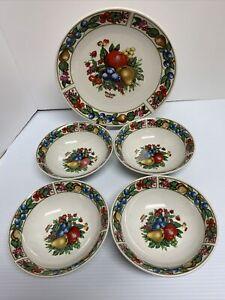 Vintage-TABLETOPS-UNLIMITED-EDEN-FRUIT-4-Soup-Cereal-Bowls-1-Dinner-Plate-R1-22