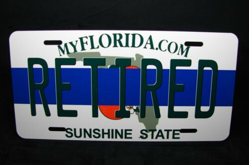FLORIDA STATE RETIRED THIN BLUE LINE POLICE METAL NOVELTY LICENSE PLATE