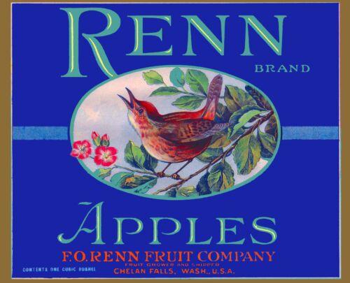 Chelan Falls Washington Renn Bird Apples Apple Fruit Crate Box Label Art Print