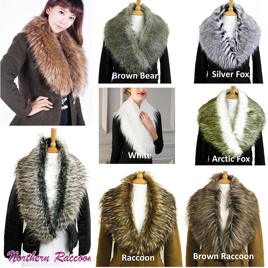Fluffy Winter Faux Fur Collar Scarf Scarves Shawl Wrap Stole Women/'s Quality