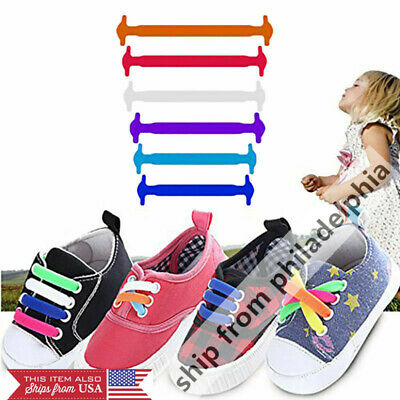 12pcs//set No Tie Elastic Shoe Laces Shoes Kids Lazy Shoelaces String Gifts Funny