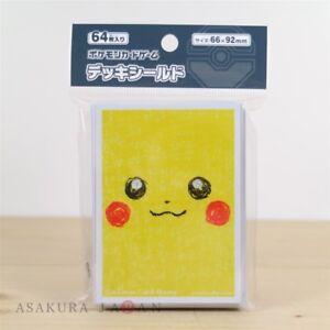Pokemon-Center-Original-Kartenspiel-Huelle-Pikachu-Gesicht-64-Arm-aus-Japan