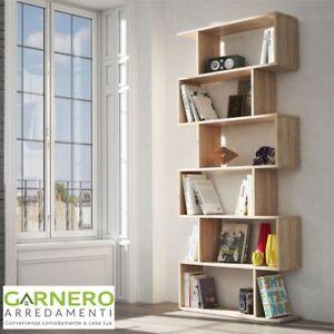 Libreria scaffale moderna AMIRA rovere naturale arredo soggiorno ...