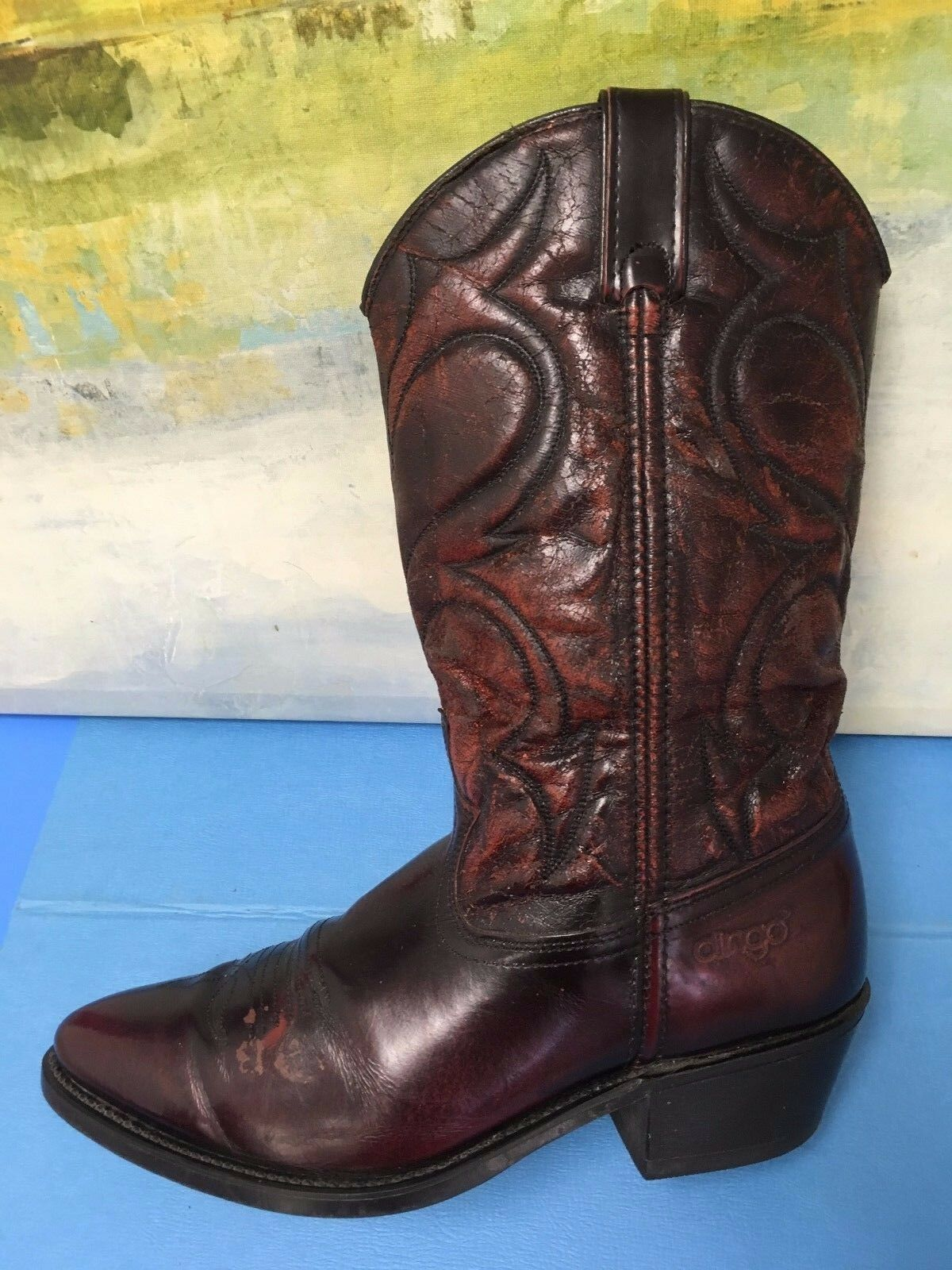 DINGO Style 5959 Burgundy Cowboy Western Boots Size 8.5 EW Pull On