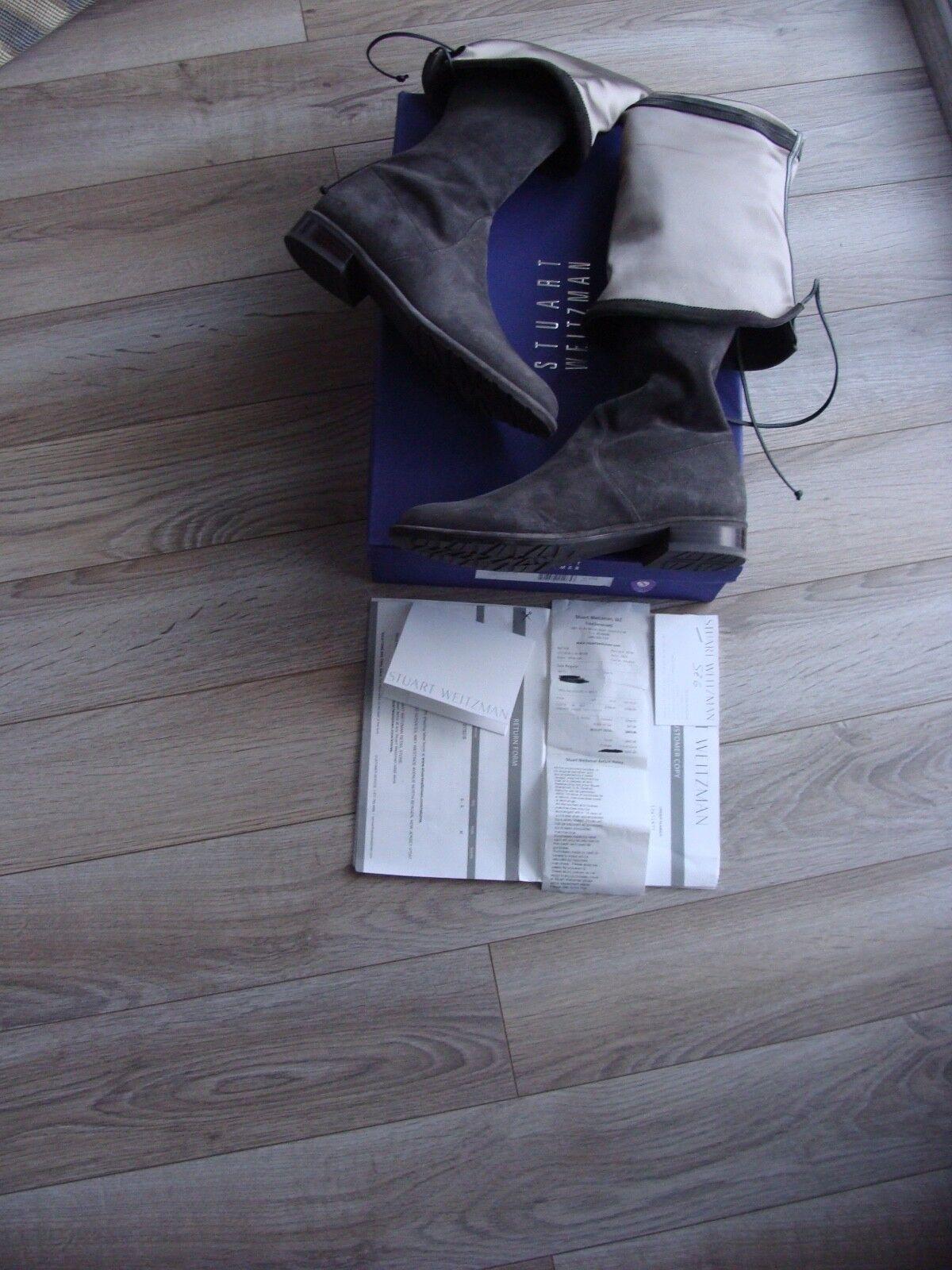 Stuart Weitzman Lowland Over the Knee Suede Boots Grey 37 Euro