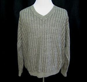 PRONTO-UOMO-Mens-Size-XL-Brown-V-Neck-Italian-Pullover-Wool-Knit-Sweater-Italy