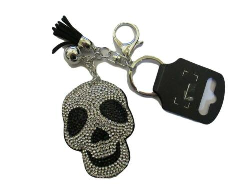 New Large Crystal Skull Black Fabric Silver Metal Statement Bag Charm Keyring