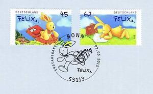 Rfa 2015: Felix Le Lapin Nº 3140 + 3141 Avec Bonner Ersttags Cachet Spécial! 1901-stempel! 1901fr-fr Afficher Le Titre D'origine
