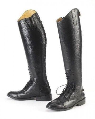 Equi-Star Damas botas de campo para todo clima con los escudetes estilo V descansa doble espuela