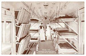 Antique-WW1-military-printed-postcard-Ward-Car-Continental-Ambulance-Train