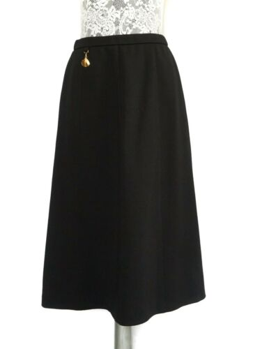 Made in West Germany 80s Wool ARA Modell A-line Knit Black Skirt Size  M Midi Vintage