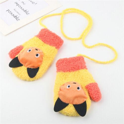 New Toddler Baby Cartoon Fashion Stitching Girl Boy Winter Warm Straps Gloves