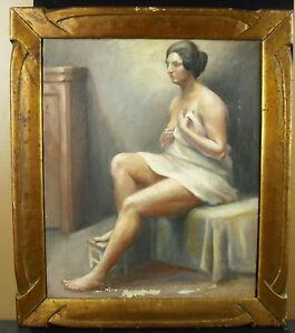 Viggo-a-Erichsen-1923-Nudo-di-Donna-Color-Carne-Naked-Paint-Hst-Cornice-Art-Deco