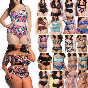 197357a1874 Plus Size Women Floral Padded Push-Up Bikini Set Swimsuit Swimwear ...