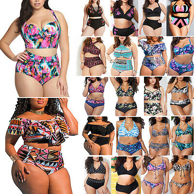 Womens Plus Size High Waist Padded Ruffle Swimwear Bikini Bathing Beach Swimsuit