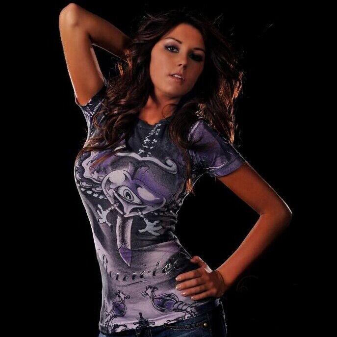 Remetee FLYING EYE damen Top T-Shirt M L NWT NEW lila