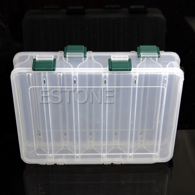 Clear Plastic Tackle Box Lot 12 Compartments Fly Fishing Lure Hooks Tool Case